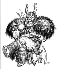 viking coffee break (robolove3000) Tags: signs coffee pen ink fur soup sketch duck drawing helmet horns norwegian mai doodle axe stool viking wi pantless stoughton syttende