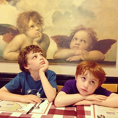 Reprising my Cherubs photo from many years ago. (Kevin Baird) Tags: cameraphone justin valencia square restaurant babies madonna lucas angels squareformat raphael lornas cherubs sistine iphone sistinemadonna iphoneography instagramapp uploaded:by=instagram foursquare:venue=4293c000f964a52039241fe3