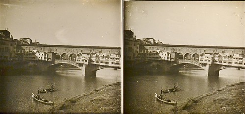 Italy, Bridge at Ponte Vecchio Florence c1910 stereo