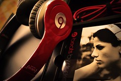 And so the Beat goes on... (DLolly) Tags: b red portrait woman black girl face yellow silver grey book wire shiny warm box head dr headset headphones cushion vignette dre headphone earphones beats drdre