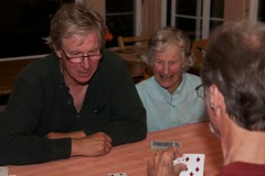 Playing Bridge (krazemonkey) Tags: reunion john jean aggie leroy hilltop aptos johnv 2013