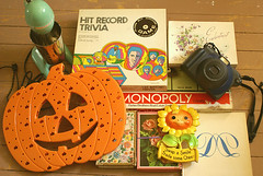 SalingSpree (obsequies) Tags: green halloween vintage pumpkin cards sale board garage mixer mint lot games monopoly thrift loot sunflower beatles psychedelic milkshake sunbeam finds treasures thrifty chalkware