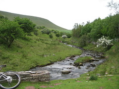 Don't balance your bike on the wall, it might fall in the riv... (neil.finnes) Tags: dorset rough brecon beacons riders