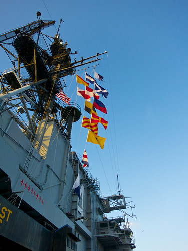 Flags flying on the USS Midway