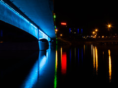 DSC_5757 (Keztik) Tags: show street city bridge blue light red lake canada black west color green water yellow night jaune dark rouge hotel nikon eau king noir time quebec lac vert des bleu sherbrooke lumiere promenade pont dslr rue nuit couleur nations ville color ouest d3200
