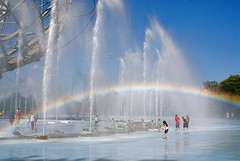 Cooling Off Beneath The Unisphere in Queens (NYCNYC) Tags: fountain rainbow queens unisphere