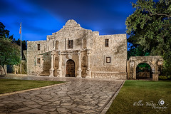 The Alamo at dawn ~  San Antonio, Texas (Ellen Yeates) Tags: old morning blue sky usa building church architecture night sanantonio photography ellen downtown catholic texas tx architectural historic spanish hour mission bluehour retouch retouching hdr oldbuilding yeates ellenyeates removepoleandchain
