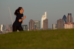 Jogger (Gary Kinsman) Tags: urban london tower skyline skyscraper person cityscape zoom barbican compression telephoto highrise jogging primrosehill gherkin 30stmaryaxe tower42 nw1 canon70300mm 2013 herontower canoneos5dmarkii canon5dmkii