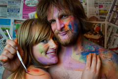 Brightly. (evilibby) Tags: art dave newspaper mess paint bright makeup messy libby 365 colourful facepaint 365days 3656 365days6