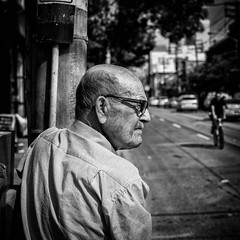 Waiting for something (skamelone) Tags: street blackandwhite white toronto black photography streetphotography social streetartist fujifilm socialdocumentary xe1 fujiflm