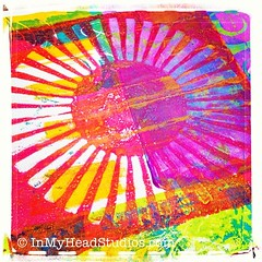 Best gelli print today... so far! Handmade stencil love! (Vickie @ In My Head Studios) Tags: blue yellow paper print square acrylic lofi magenta plate class squareformat sunburst handmadestencil ghostprint iphoneography instagramapp uploaded:by=instagram gelli gelliprintjunkjournal samieharding