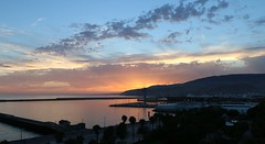 Almería (Jose R. L.) Tags: sunset sea españa skyline port puerto atardecer mar spain almería panorámica