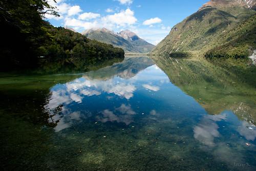 trees newzealand sky lake mountains water clouds reflections bush nz southisland lanscape lakegunn fiordlandnationalpark southwestnewzealandworldheritagearea