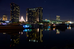 (Trent Bell) Tags: california reflection skyline marina cityscape sandiego embarcadero 2013 sandiegocityscape