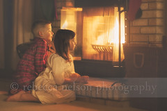 (Rebecca812) Tags: christmas family winter boy portrait people brick love girl childhood children wonder fire grate togetherness cozy fireplace sweet sister brother illumination warmth twin hearth plaid gazing seated pajamas nightgown firelight contemplation christmasstocking canon5dmarkii rebecca812