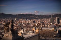 Barcelona from Arts Museum (l@u_) Tags: blue winter sky espaa mountain statue azul stone clouds buildings spain edificios ciudad cielo nubes invierno montaa viewpoint estatua mirador piedra artsmuseum museodelasartes