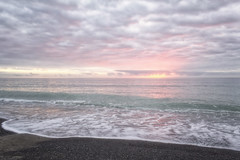Softly Rising (Nicks.Place) Tags: pink sunset sea newzealand cloud seascape beach water weather canon landscape photography eos photo sand colours photos movingwater nicksplace 60d wwwnicksplaceconz