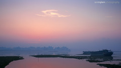 Bahraini Dawn (.Ian Mylam.) Tags: blue red orange water sunrise dawn boat bahrain twilight calm tranquil bhr