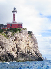 Lighthouse on Capri (shaire productions) Tags: ocean travel sea vacation italy lighthouse mountains water rock island capri coast countryside italian rocks campania hill picture rocky pic sorrento region