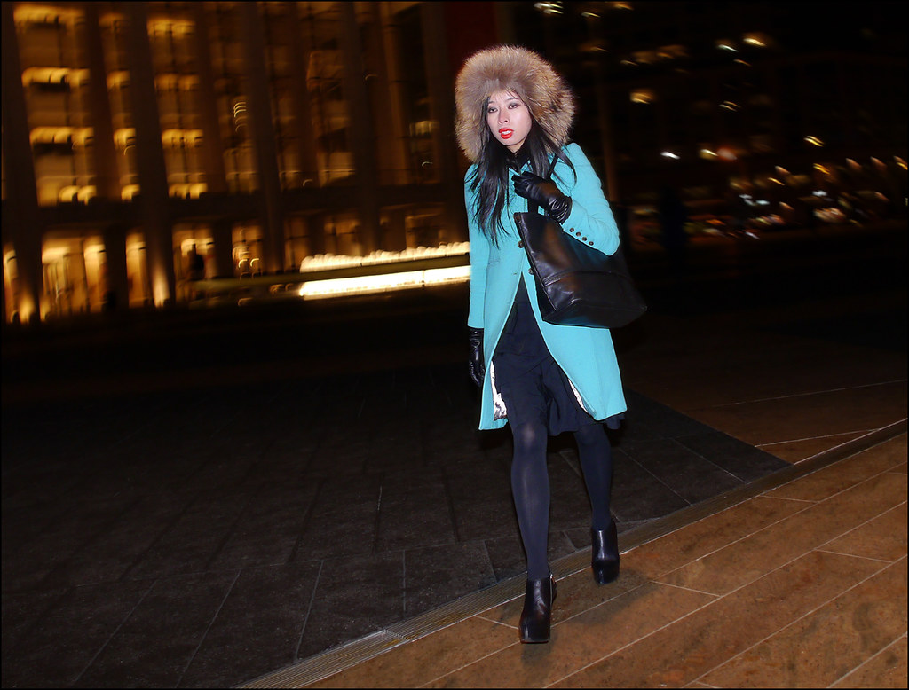 FW 2014-2 -16 w long light blue coat over all black dress fur hat ol