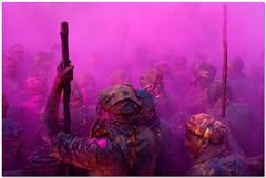 armed (Soumya Bandyopadhyay) Tags: colors festival wide perspective holi barsana mathura vrindavan uttarpradesh canoneos400d nandgaon canon1855mmis lathmar brajholi