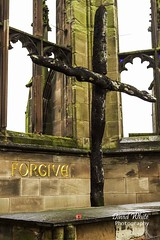 Forgive (bretton98) Tags: uk history stone architecture ruins peace cross wwii religion poppy remembrance reconciliation warwickshire forgiveness coventrycathedral canon7d bretton98 davidwhitephotography