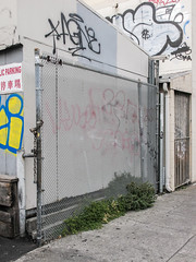 Special fence. (Tim Kiser) Tags: 2015 20150702 7thstreet alamedacounty alamedacountycalifornia bailey baileyfenceco baileyfencecoinc baileyfencecompany baileyfencecompanyinc bayarea california chinatown chinatownoakland chinesecharacters eastbay img5962 july july2015 oakland oaklandcalifornia oaklandchinatown oaklandgraffiti sanfranciscobayarea seventhstreet chain chainlink chainlinkfence chainlinkfencewithsmallholes chewinggumspots chewinggumstains dollarsign dollarsigngraffiti downtown downtownoakland fence gate graffiti graffitionachainlinkfence graffitionchainlink locks northerncalifornia padlocks paved pavement publicparking publicparkingsign securityfence sidewalk urbanplants wirefence unitedstates