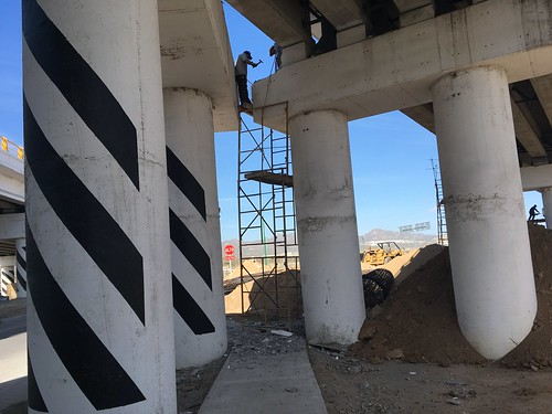 Construction on freeway overpass