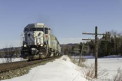 Grey Ghost at Parlin Stream (Thomas Coulombe) Tags: centralmainequebec cmq citx emdsd402 sd402 freighttrain train 1 parlinstream longpond maine mooseheadsub