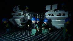Lego UN Peacekeepers (Force Movies Productions) Tags: un lego guns vab 6x6 brickmania brickarms soldiers military outbreak dark light photograpgh art minifig toy custom troopps peacekeepers united nations blue helmets army armored truck transports