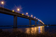 Stockton Blue Hour (OzzRod) Tags: pentax k1 smcpentaxda15mmf4 night lights starbursts bridge river stockton newcastle australia