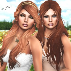 Twins Spring 2017 (Arwen Clarity) Tags: secondlife second life sl 2ndlife redhead ginger freckles spring butterfly flowers faces sisters twins bestfriends greeneyes blueeyes