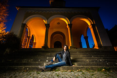 night portrait (photon tamer) Tags: bluehour architecture portrait outdoorportrait woman girl female model night strobist