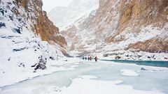 Walking On Thin Ice (Sid's Corner) Tags: green mountains valley ladakh leh india incredibleindia northindia chadar chadartrek river zanskar zanskarriver frozenriver ice snow snowscape snowcapped blue water freeze frozen trek landscapes landscape nature natureaddict nationalgeographic ngc flickraward nikon nikond800 schoksi schoksiphotography scenery mountain yellow bluesky