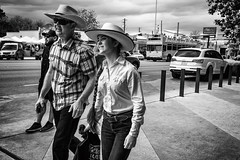 Cowgirl (FlotographyATX) Tags: allens austin blackwhite boots cowboyhat cowgirl fuji jeans life people ponytail southcongress street western xpro2 2017