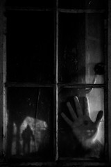 168/365 (lukerenoe) Tags: conceptual composite self selfportrait lukerenoe light blackandwhite black dark 365 edit creative creepy hand window scary horror house glass reflection