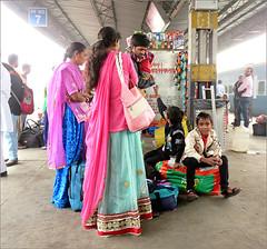 Waiting for the Train (Mary Faith.) Tags: indian family saris colour railway station delhi waiting train varanasi transport india travel