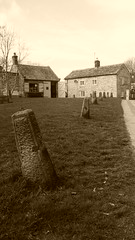 old bollards, Church St, Eyam   -   April 2017 (dave_attrill) Tags: green old bollards national trust centre sepia monochrome 260 deaths eyam derbyshire peak district hope valley 11th century village bubonic plague breakout 1665 rev william mompessom anglo saxon roman lead mining outdoor historic mid 17th april 2017 park white mines domesday book stoney middleton