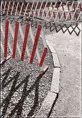 Barriers (macplatti) Tags: feldkirch city barrier red black rot schwarz sperre baustelle street kies schotter absperrung andreaskreuz