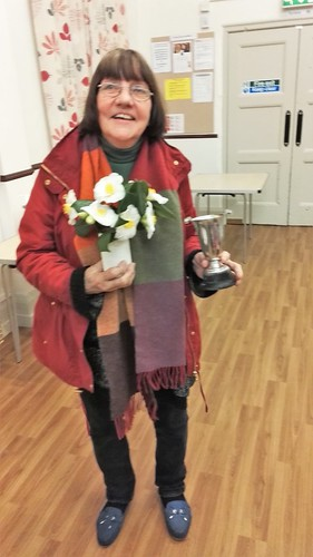 Mrs Sue Gravgaard achieves first for her cut flowers display, one vase , at the recent BiB Horticultural Meeting on March 3rd