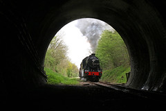 Enter the tunnel (Andrew Edkins) Tags: lms stanier turkish 8274 tunnelmouth porthole barnstonetunnel greatcentralrailway gcrn trees 30742photocharter singletrack railwayphotography 2017 april charter freighttrain steamtrain framed preservedrailway nottinghamshire england uksteam geotagged canon spring morning sky clouds vintage heritage freightlocomotive clag