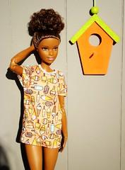 Asha (Deejay Bafaroy) Tags: barbie madetomove mtm mattel doll puppe asha black outdoors portrait porträt draussen orange yellow gelb green grün