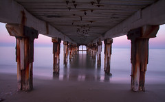 The Pier (Andrew.King) Tags: pier sea water tide waves blur movement long exposure milky mist supports sunset sunlight planks wood vantage point perspective vanishing horizon sky clouds cyprus turkey nikon d7100 tripod cokin nd filters rust landscape composition