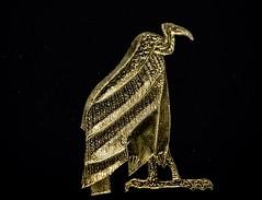 Gold leaf vulture amulets representing the Upper Egypt goddess Nekhbet or Mut found at the neck of King Tutankhamun's mummy New Kingdom 18th Dynasty Egypt 1332-1323 BCE (mharrsch) Tags: gold pharaoh king ruler tutankhamun burial tomb funerary 18thdynasty newkingdom egypt 14thcenturybce ancient discoveryofkingtut exhibit newyork mharrsch premierexhibits amulet vulture nekhbet mut