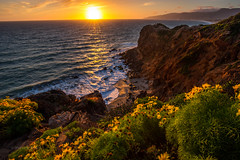 Malibu Wind whipped Sunset (PatrickDillonPhoto.com) Tags: creation god hiking malibu rocks sunset beach beautiful beauty california californiapoppies californiasuperbloom cliffs clouds light ocean photos poppies southerncalifornia sunflare sunrays sunstar superbloom waves wildflowers wonders landscapephotography