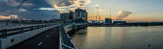 62-Pano.jpg (richardw666) Tags: cycleway cranes construction bay water bridge clouds cloudscape sunset rays
