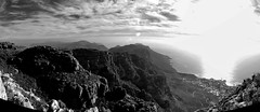 On Table Mountain (RWGrennan) Tags: table mountain south africa cape town sky mountains clouds black white landscape travel rgrennan rwgrennan nikon d5100 ryan grennan bw monochrome mono panorama pano panoramic atlantic ocean view wow inspire adventure explore outdoors za western camps bay national park trail