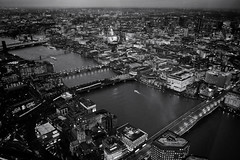 London Nightscape XXIII (Douguerreotype) Tags: uk gb britain british england london city urban bw blackandwhite mono monochrome night dark lights cityscape buildings bridge river thames boat church cathedral architecture