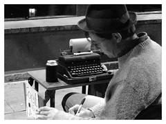 Poet for hire (New Orleans) (mibric) Tags: noiretblanc unitedstates etatsunis america street poet rue travel voyage