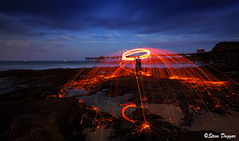 0S1A5447 (Steve Daggar) Tags: catherinehillbay sunset seascape landscape nswcentralcoast gosford wharf jetty firetwirling steelwooltwirling firespinning